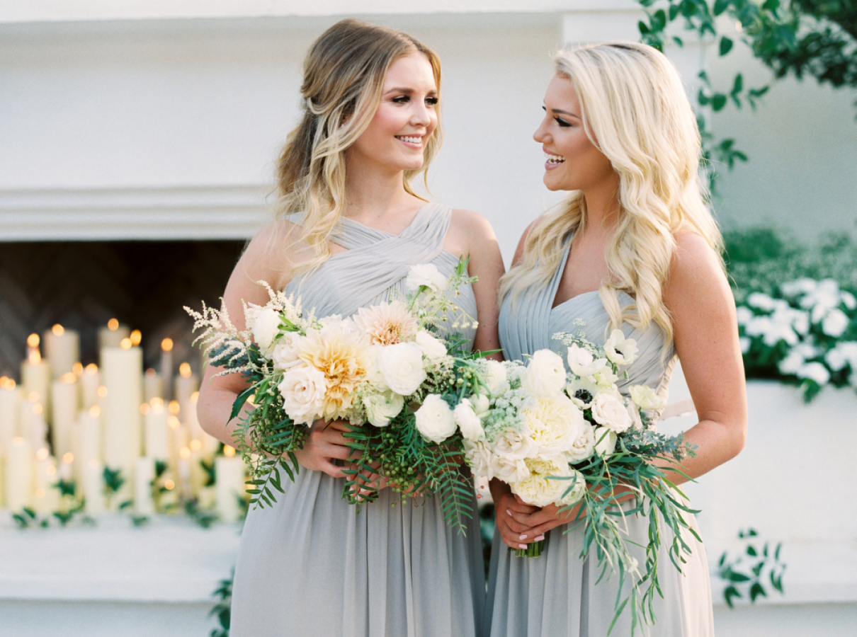 grey mismatched wedding dresses http://itgirlweddings.com/timeless-traditional-style/