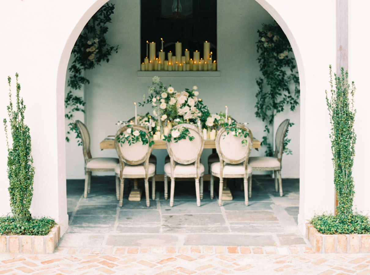 white wedding with greenery and candles http://itgirlweddings.com/timeless-traditional-style/