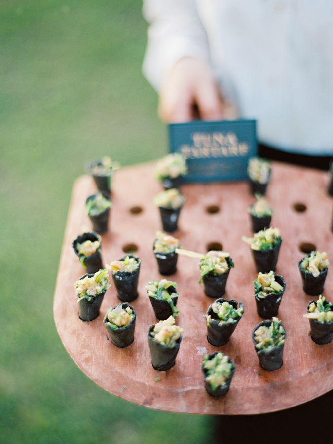 mini wedding bites http://itgirlweddings.com/southern-wedding-with-a-surprise-grand-exit/