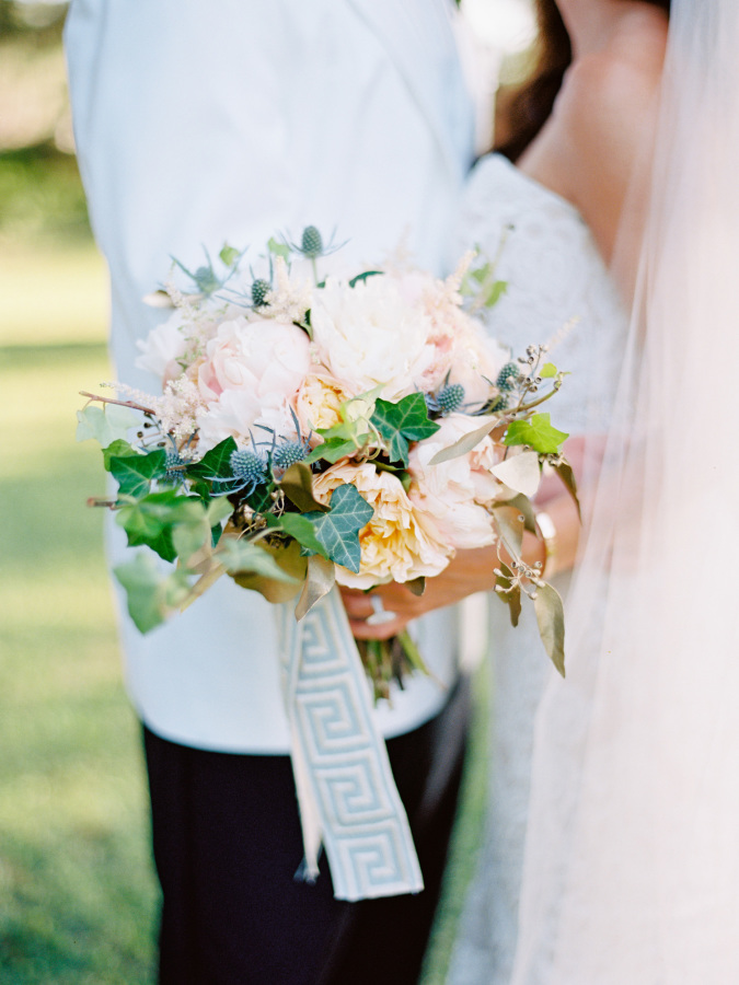 blush and green bridal bouquet http://itgirlweddings.com/southern-wedding-with-a-surprise-grand-exit/