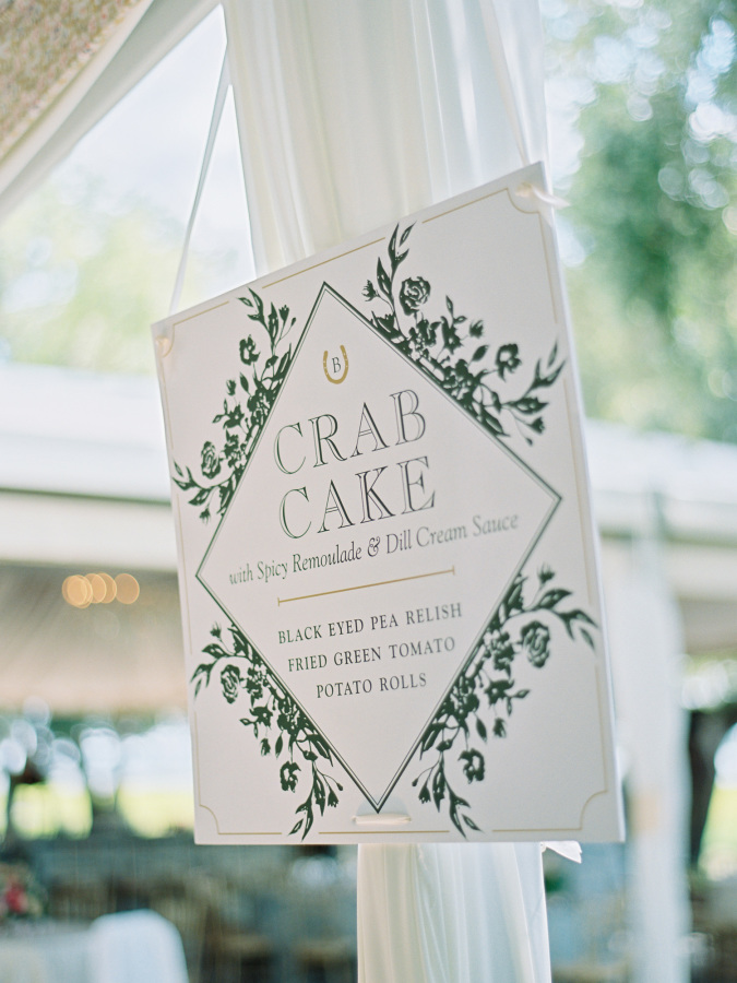 crab cake wedding http://itgirlweddings.com/southern-wedding-with-a-surprise-grand-exit/
