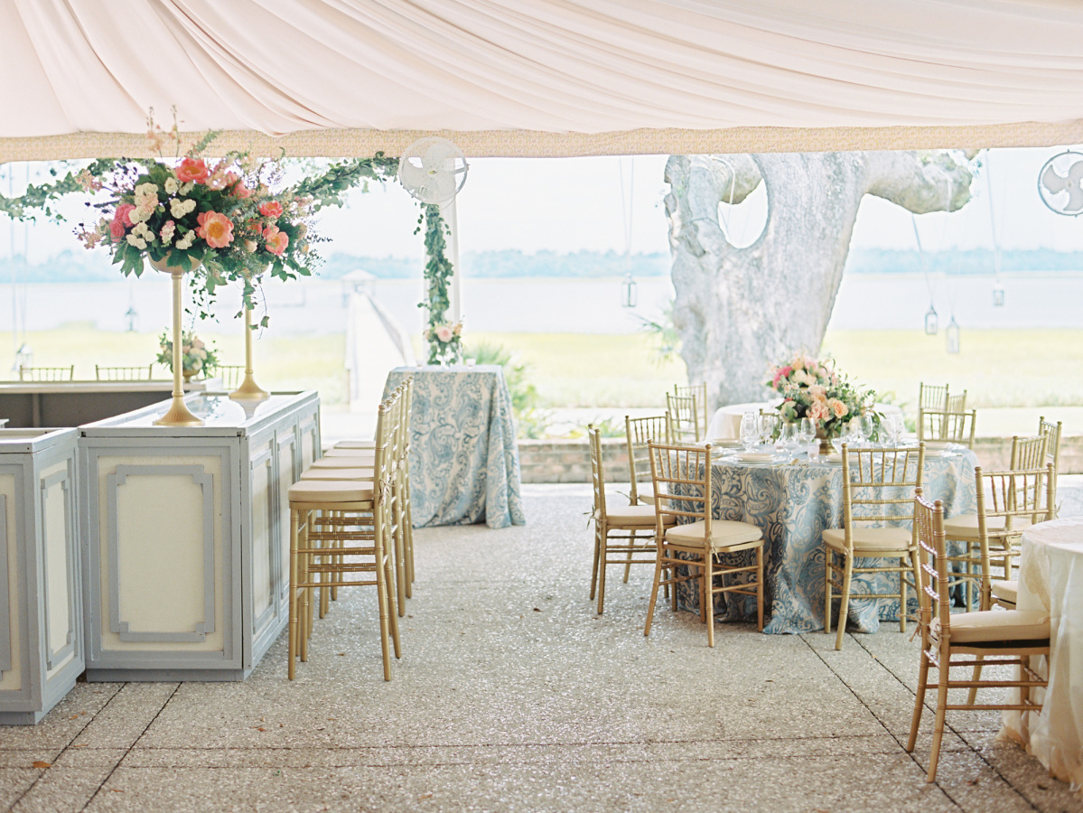 pink blue wedding decor http://itgirlweddings.com/southern-wedding-with-a-surprise-grand-exit/