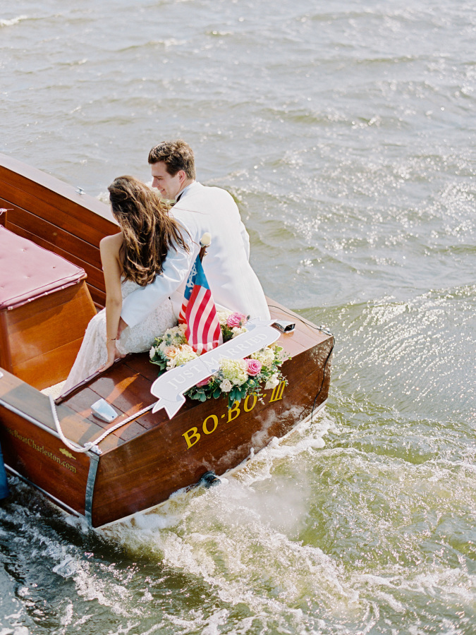 wedding exit on boat http://itgirlweddings.com/southern-wedding-with-a-surprise-grand-exit/
