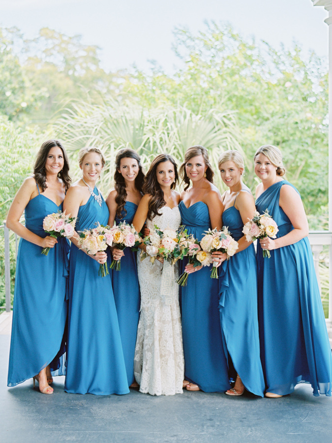 blue long bridesmaids dresses http://itgirlweddings.com/southern-wedding-with-a-surprise-grand-exit/