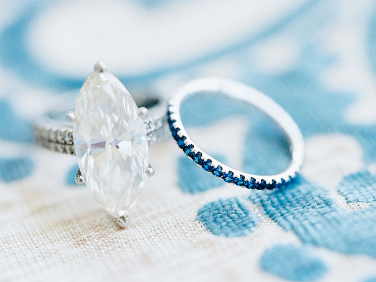 engagement ring with blue band http://itgirlweddings.com/southern-wedding-with-a-surprise-grand-exit/