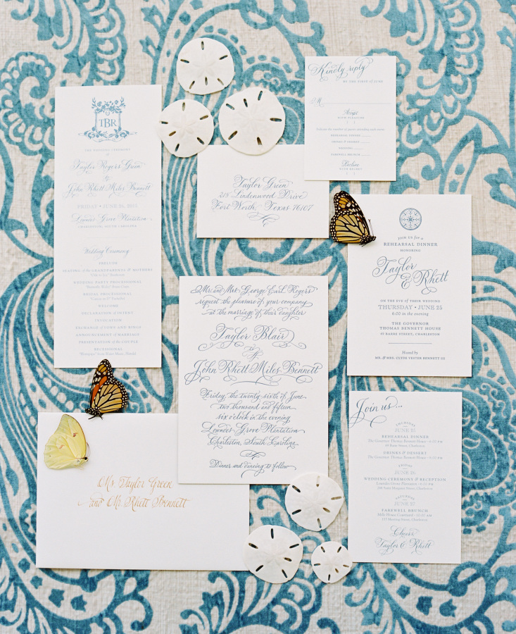 white blue wedding invitations http://itgirlweddings.com/southern-wedding-with-a-surprise-grand-exit/