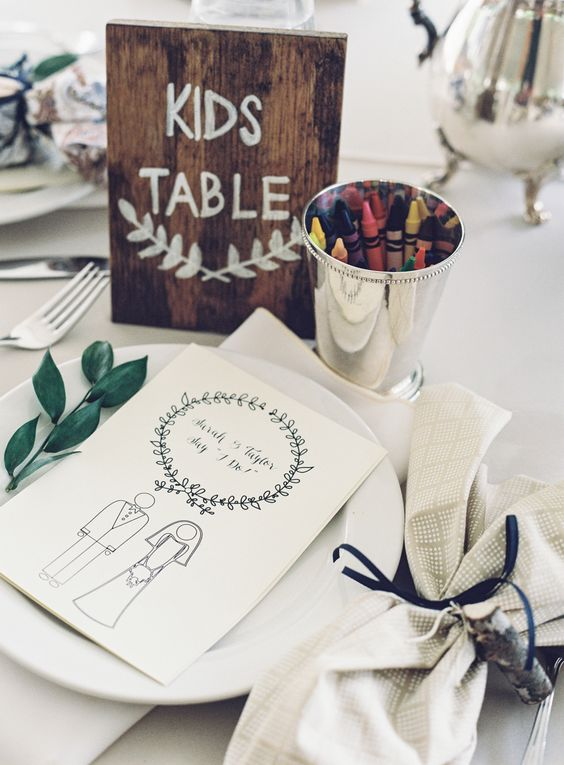 wedding kids table sign http://itgirlweddings.com/how-to-master-an-outdoor-wedding/