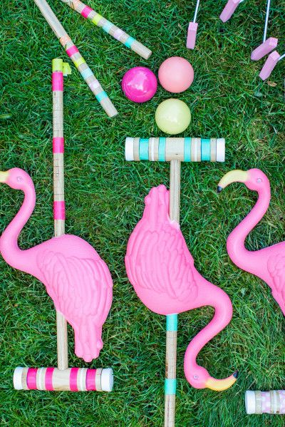 wedding flamingo croquet set http://itgirlweddings.com/how-to-master-an-outdoor-wedding/