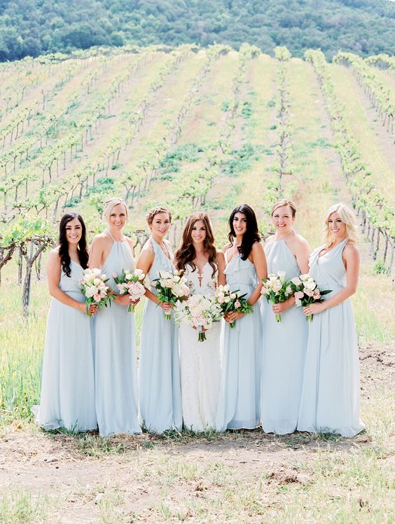 light blue bridesmaids dresses http://itgirlweddings.com/consider-choosing-bridesmaids-dresses/