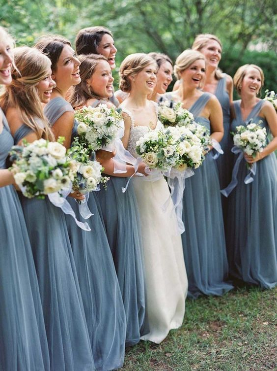 dusty blue bridesmaids dresses http://itgirlweddings.com/consider-choosing-bridesmaids-dresses/