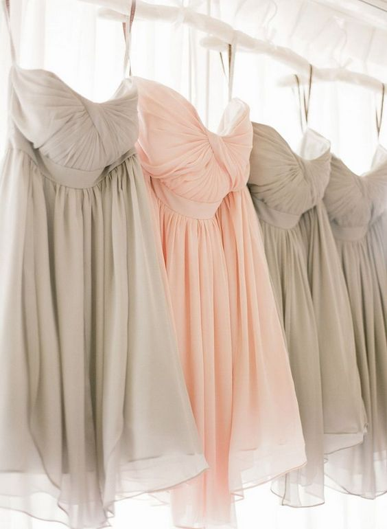pink and grey bridesmaids dresses http://itgirlweddings.com/consider-choosing-bridesmaids-dresses/