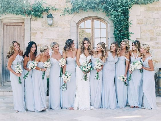 pale blue bridesmaids dresses, pink bouquets http://itgirlweddings.com/consider-choosing-bridesmaids-dresses/