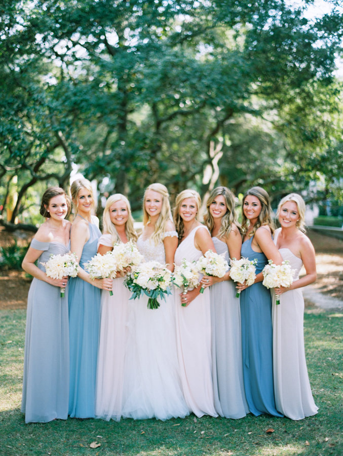 blue and white bridesmaids dresses http://itgirlweddings.com/consider-choosing-bridesmaids-dresses/