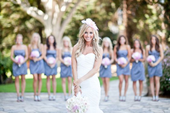 blue bridesmaids dresses, pink bouquets http://itgirlweddings.com/consider-choosing-bridesmaids-dresses/