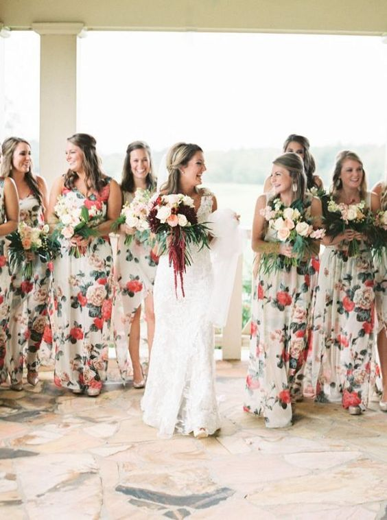 floral long bridesmaids dresses http://itgirlweddings.com/consider-choosing-bridesmaids-dresses/