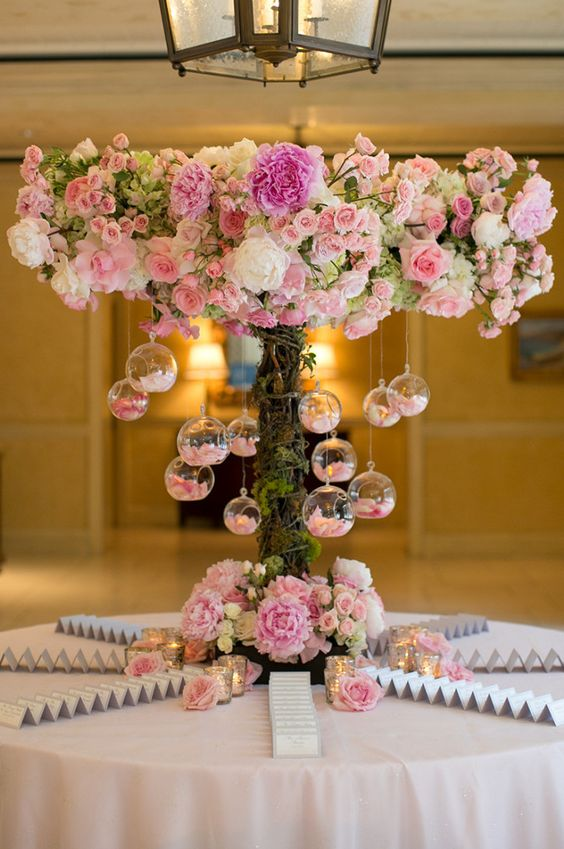 pink floral tree with hanging candles place card table http://itgirlweddings.com/create-vignettes-wedding/