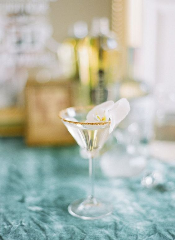 signature martini with orchid