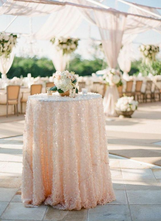 sequin wedding cocktail tables http://itgirlweddings.com/create-vignettes-wedding/