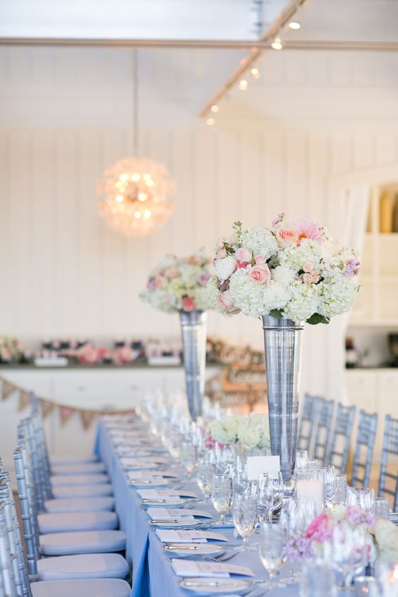 light blue and pink wedding reception