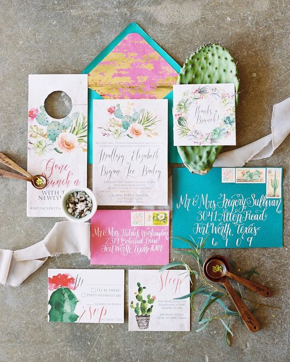 cactus themed wedding invitations