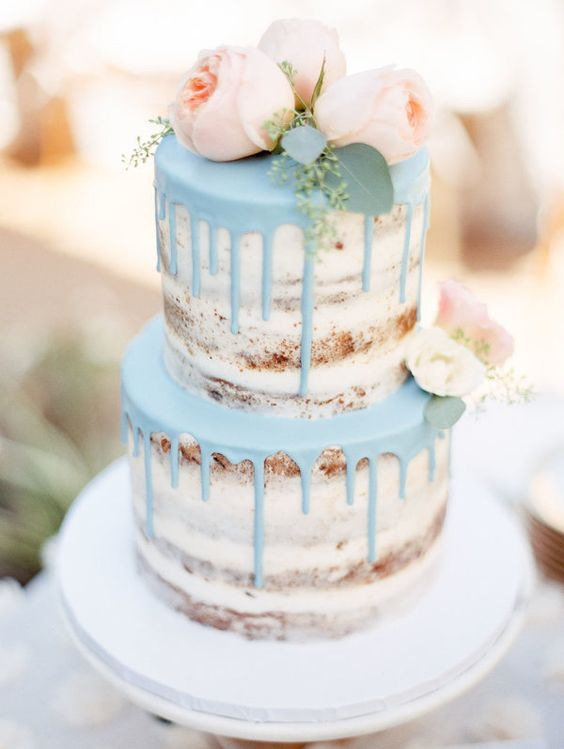 naked wedding cake with frosting dripping and peonies | wedding checklist