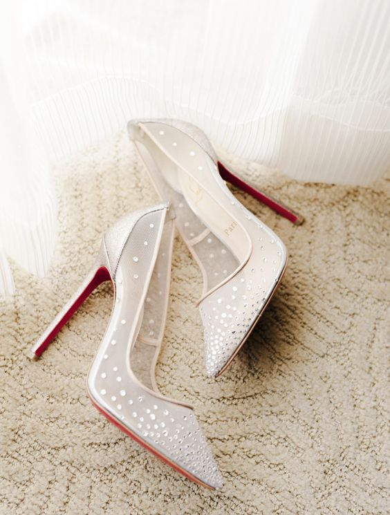 sheer christian louboutin wedding shoes