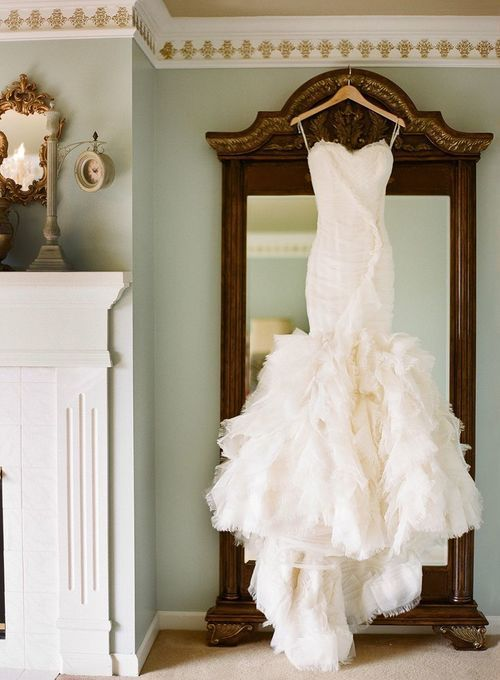 hanging mermaid wedding dress
