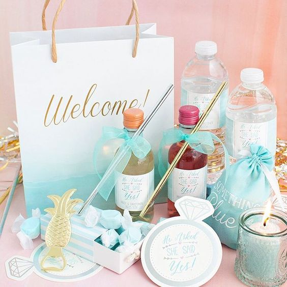 wedding welcome bag with candles