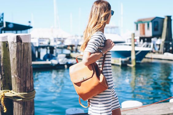 Nautical outfit with tan backpack