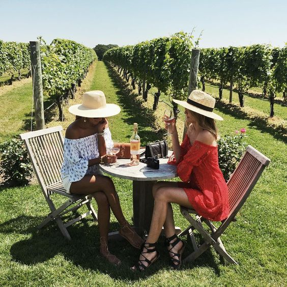 hamptons vineyard, girls sipping champagne