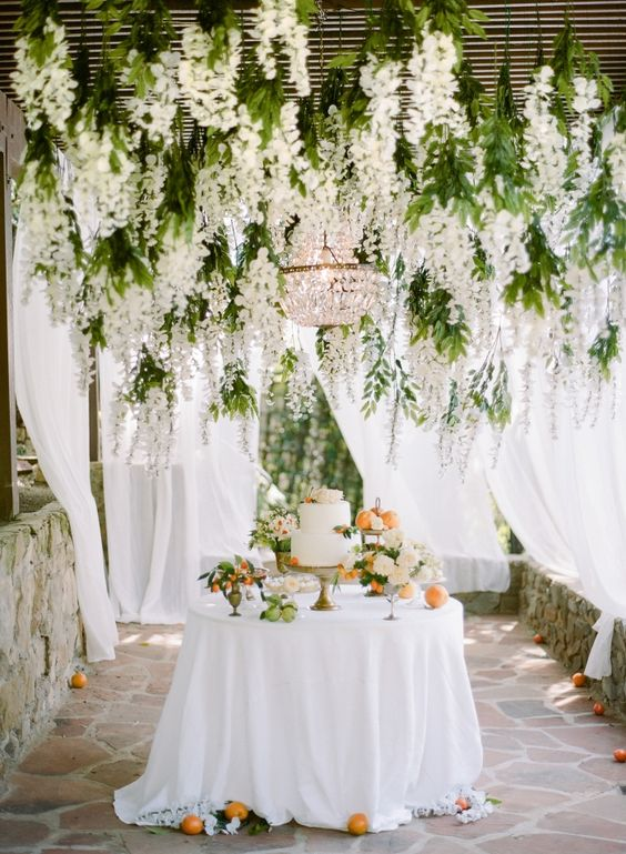 hanging white wedding flowers