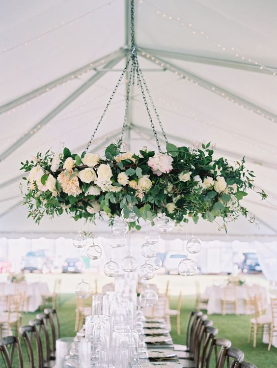 hanging wedding greenery and flowers