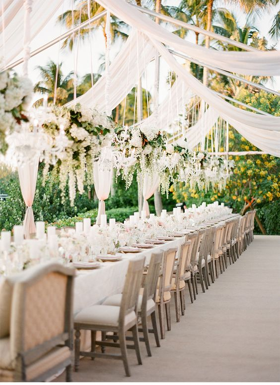 white wedding reception table decor