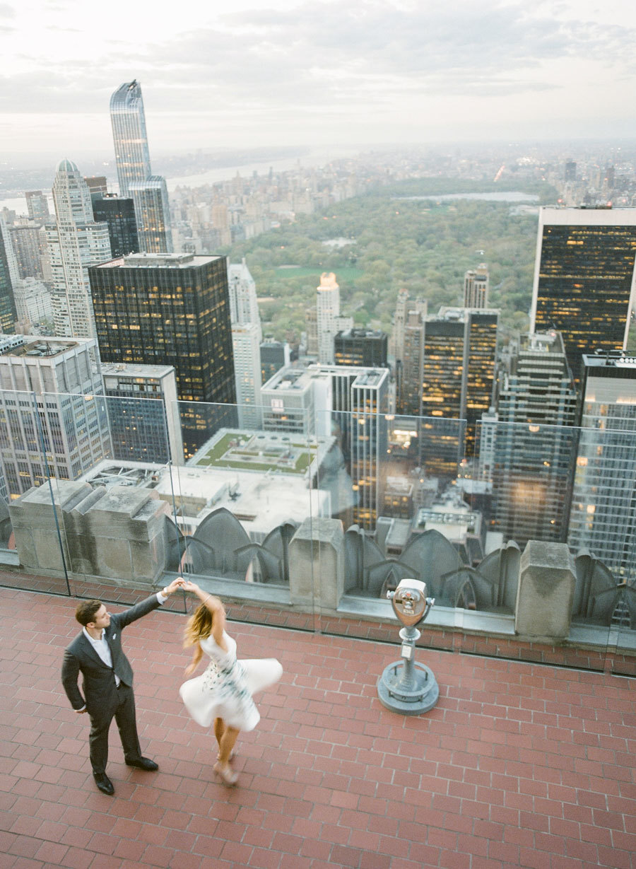 engagement photos on top of the rock in new york city