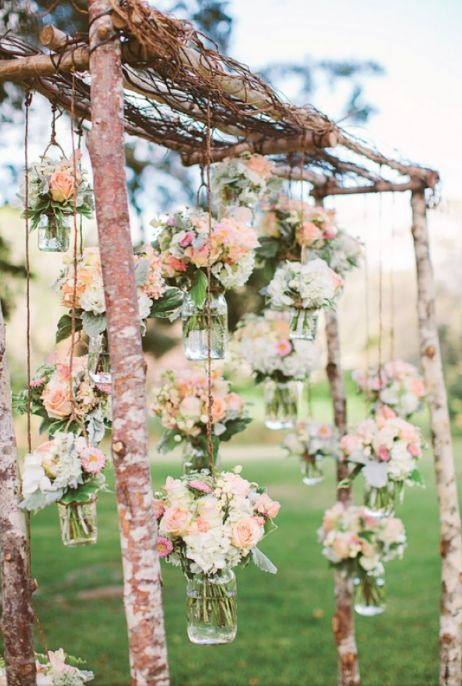 hanging wedding flowers in mason jars