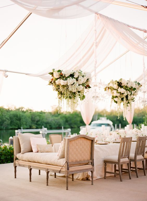 white hanging wedding flowers