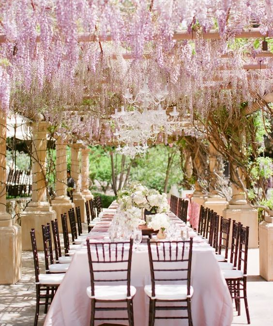 purple hanging wedding flowers