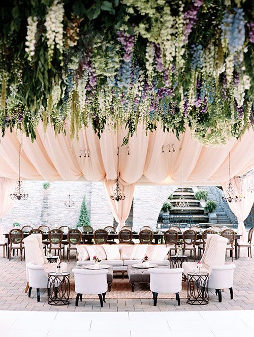 hanging wedding flowers from the ceiling