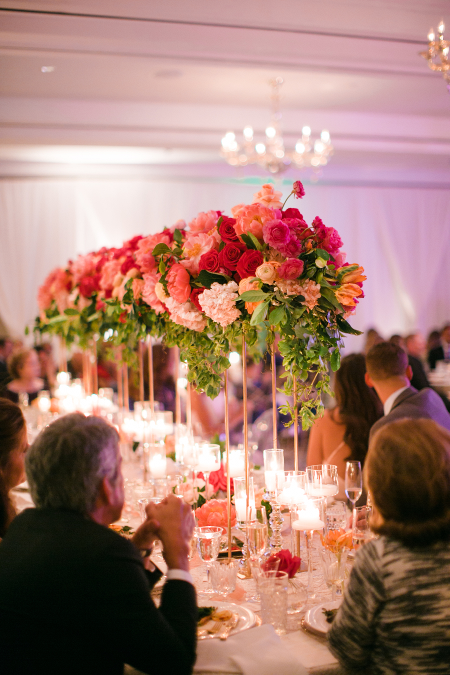high wedding reception table flowers
