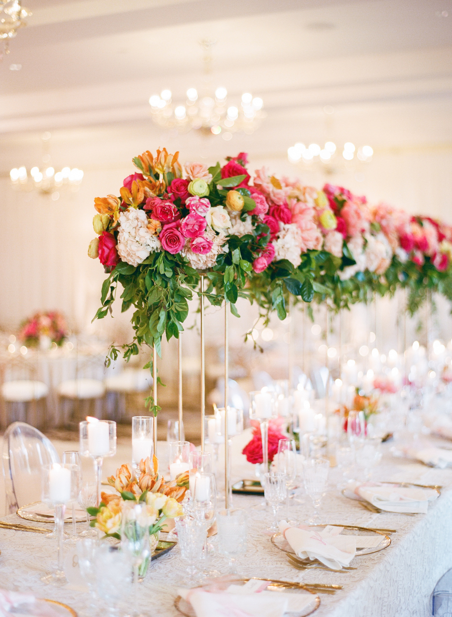high wedding flower table arrangements