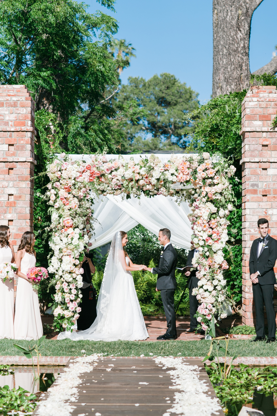 pink and white floral arbor