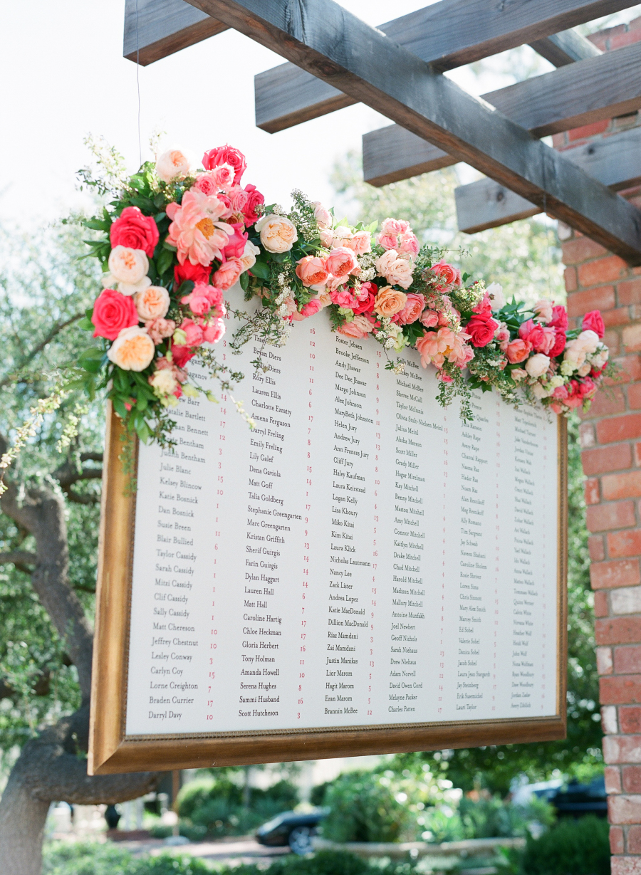 flowers on wedding seating chart