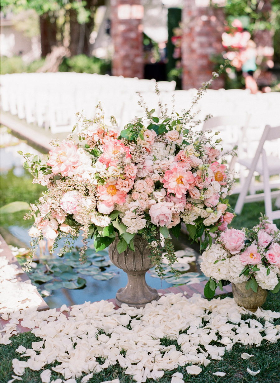huge pink floral wedding arrangement