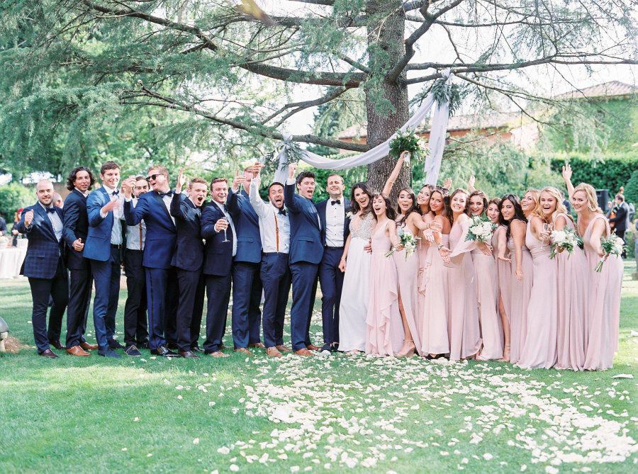 fun bridal party pose
