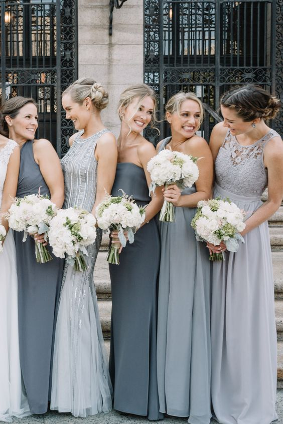 mismatched texture bridesmaids dresses