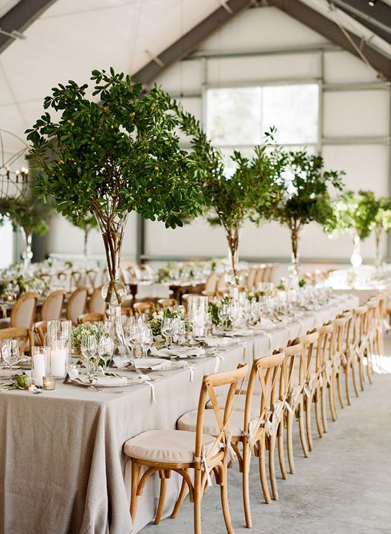 white and green wedding reception table