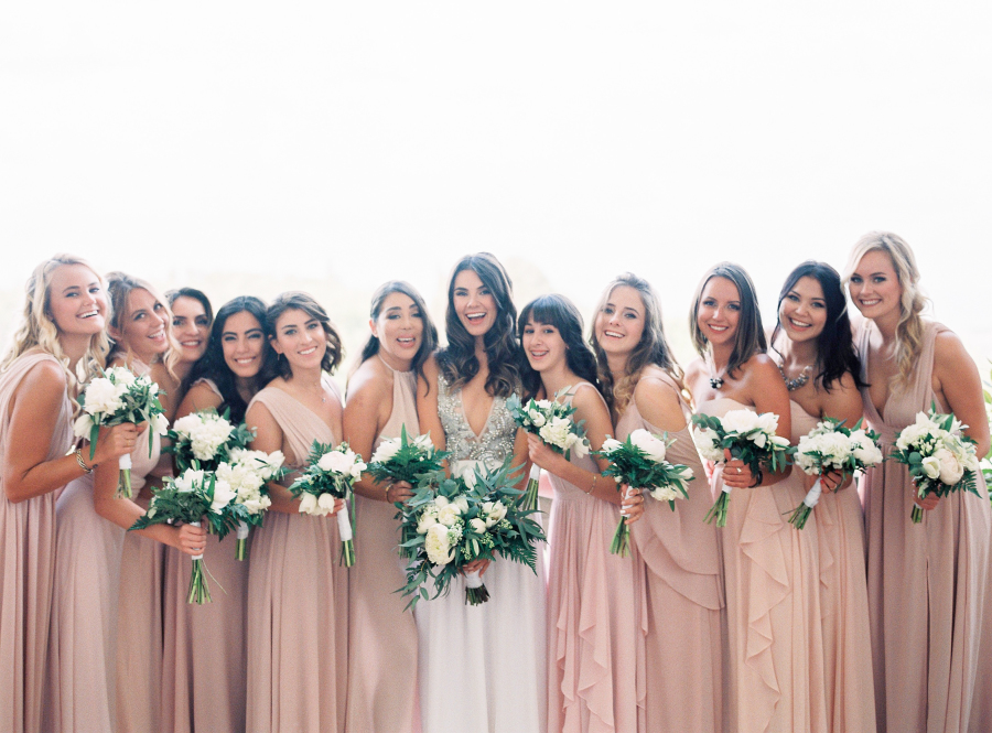 mismatched nude bridesmaids dresses