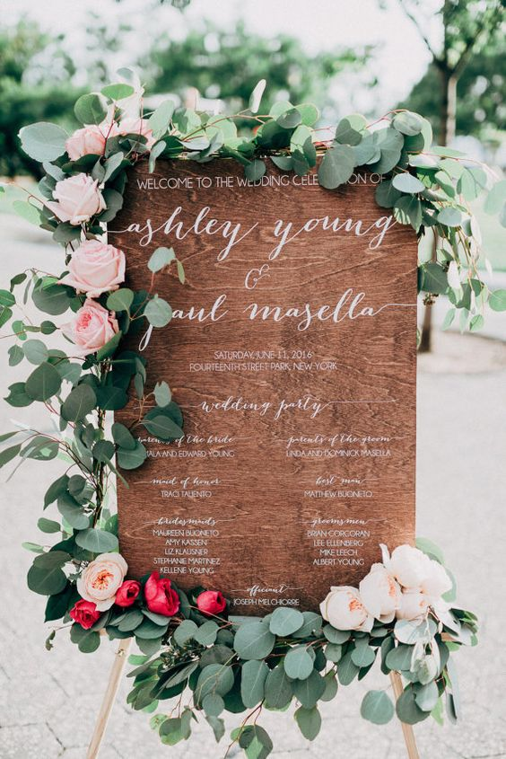 large wedding program sign