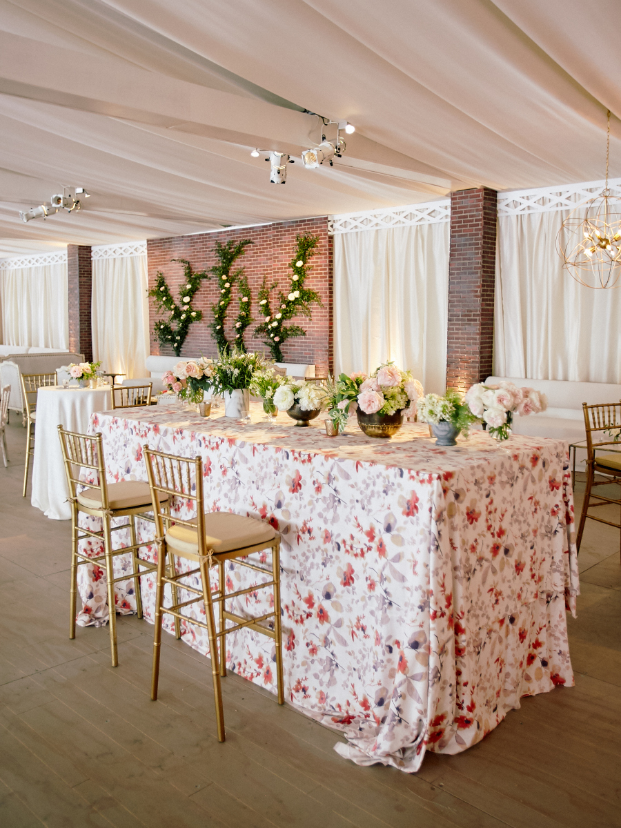 wedding floral linens