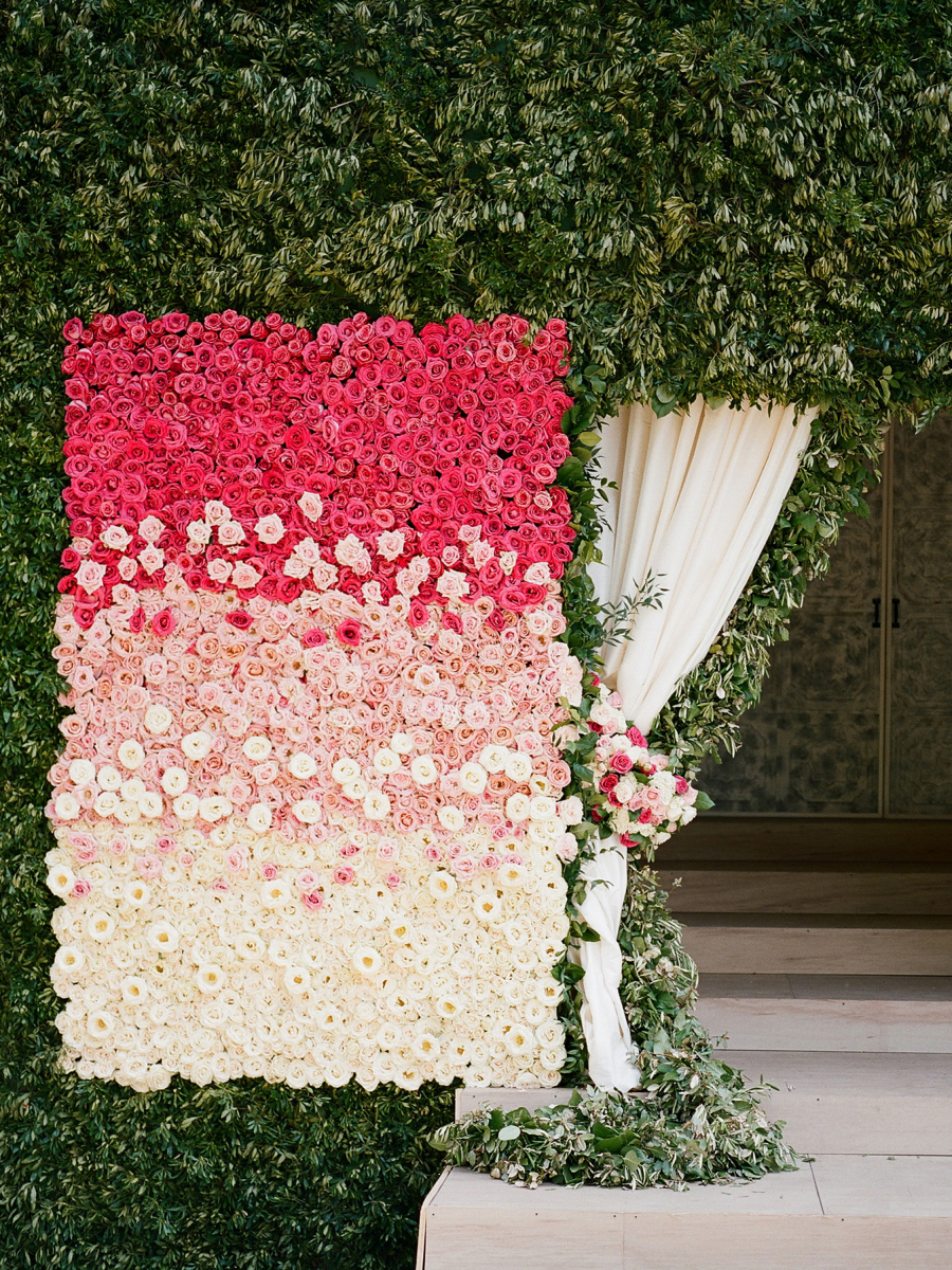 pink ombre flower wall